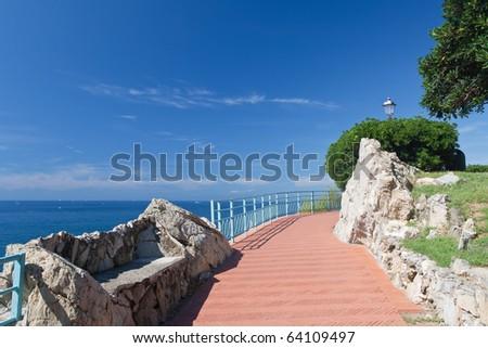 promenade in Nervi, small town near Genova, Italy - stock photo