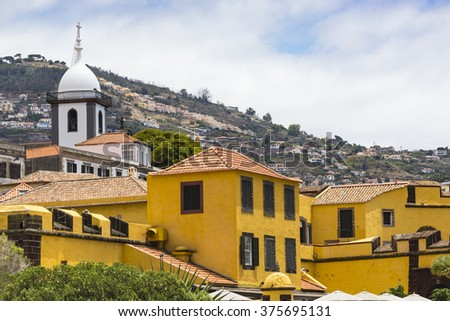Promenade of Funchal with the castle of Sao Tiago, Madeira (Portugal) - stock photo
