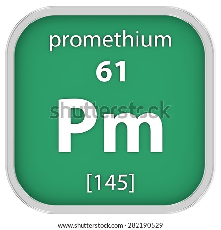 Promethium material on the periodic table. Part of a series. - stock photo