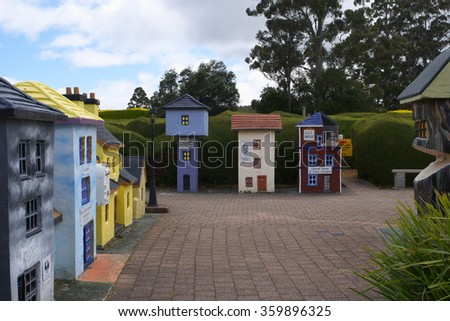 PROMISE LAND, AUSTRALIA - NOVEMBER 14: Buildings as part of Tazmazia maze park tourist attraction