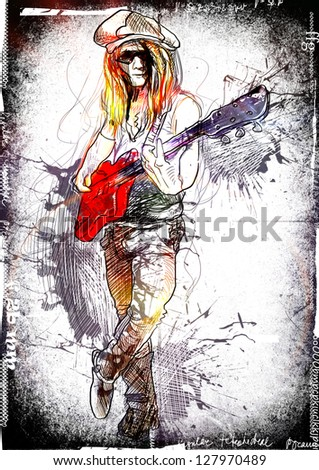Promising guitarist - young rocker. /// A hand drawn illustration of an excellent guitar player. /// Color version on black and white dirty background. - stock photo