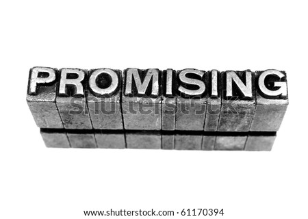 PROMISING  written in metallic letters on a white background - stock photo