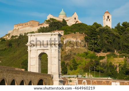 Promontory in Ancona with cathedral of Saint Cyriacus, Italy