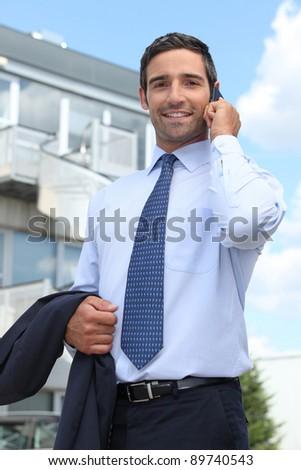Promoter on phone - stock photo