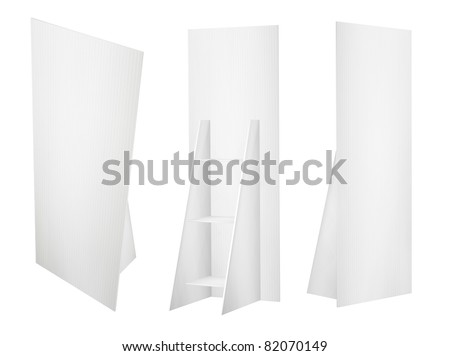Promotion board banner stands tree displays for design work (3D render) - stock photo