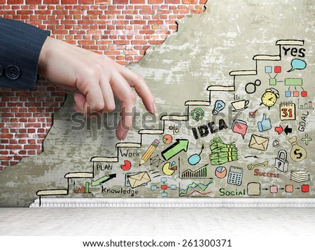 Promotion concept. Business hand go up to the painted staircase with draw in the wall. Business draw. - stock photo