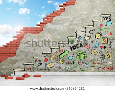 Promotion concept. Painted staircase with draw in the wall. Business draw. - stock photo