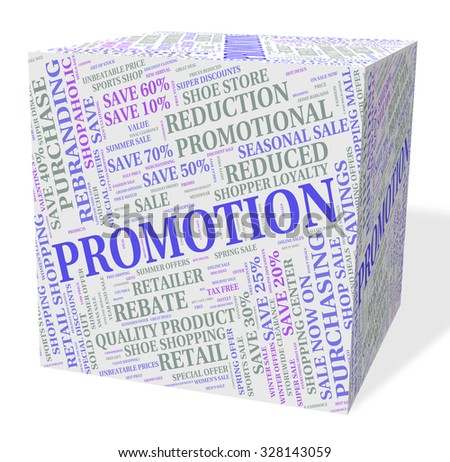 Promotion Cube Showing Reduction Merchandise And Save