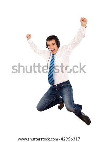 Promotion happy dance - office worker jumping with joy, isolated - stock photo