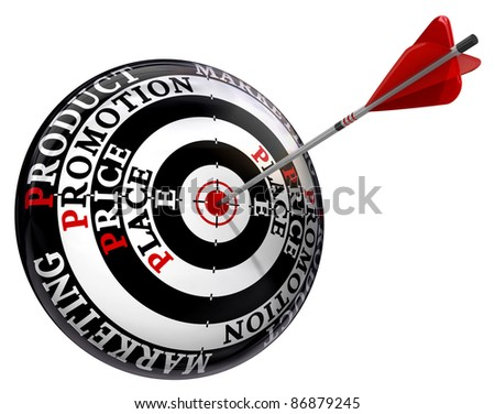 promotion price place product words on concept target and arrow isolated on white background