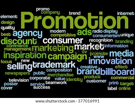 Promotion, word cloud concept on black background.