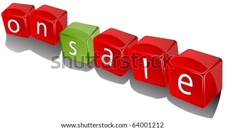 Promotional 3d icons, on sale cubes - stock photo