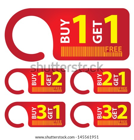Promotional Sale Labels Set, Present By Red Sale Tag With Buy 1 Get 1 Free, Buy 1 Get 2 Free, Buy 2 Get 1 Free, Buy 3 Get 1 Free and Buy 3 Get 2 Free Isolated on White Background  - stock photo