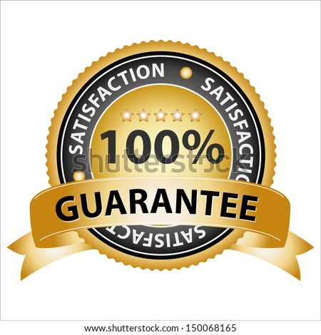 Promotional Sale Tag, Sticker or Badge, Present By Golden Guarantee Ribbon on Golden Badge With 100 Percent Sign and Satisfaction Text Around Isolated on White Background  - stock photo