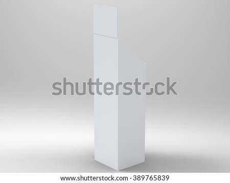 Promotional Store Shelf Stand 3D Render is a professional 3D render that can be used for various marketing campaigns, as well as brand marketing. - stock photo