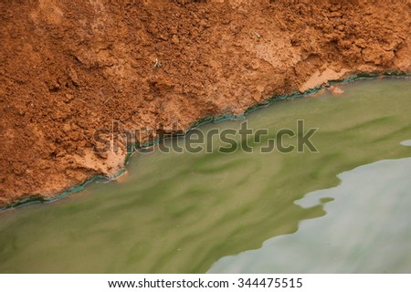 Proof, evident of water pollution. Concept of polluted water environment.   - stock photo