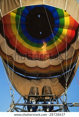 Propane flame heating balloon interior air. - stock photo