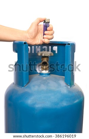Propane gas balloon. Blue gas tank, gas container on isolate background. - stock photo