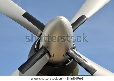 Propeller against blue sky