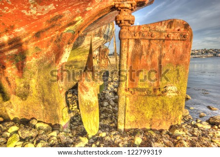 Propeller and Rudder of a Shipwreck, Camaret-Sur-Mer, Brittany, France - stock photo