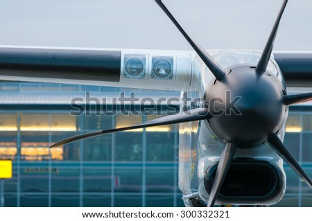 Propeller Engine of the airplane at airport. Travel and destinstion background
