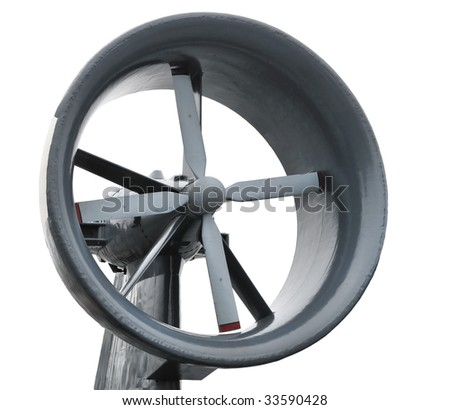 propeller of air cushion assault vehicle isolated - stock photo