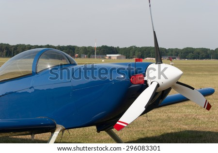 Propeller of an airplane engine - stock photo