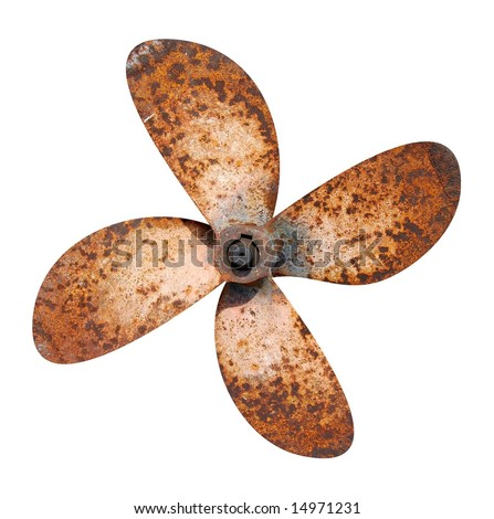 Propeller of the abandoned rusty ship - stock photo