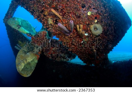 Propeller of the wreck Hilma. Bonaire - stock photo
