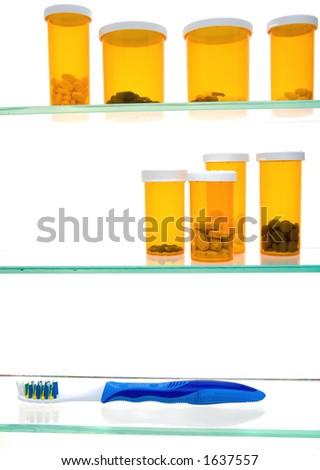 Properly stocked medicine cabinet - stock photo