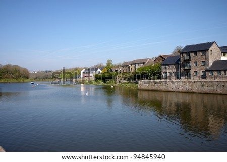 Properties along side the river in the town of Pembroke in Wales - stock photo