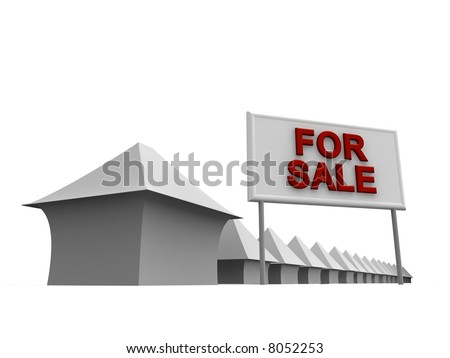 Properties For Sale 3d rendered illustration - stock photo