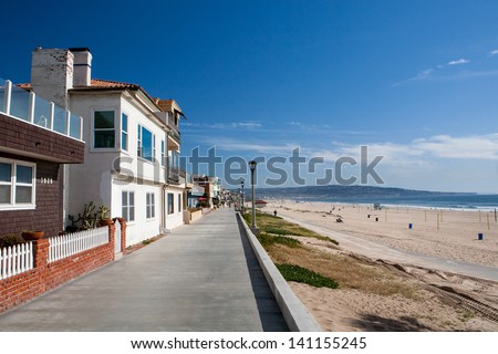 Properties on the waterfront in Manhattan Beach, Los Angeles, California, USA - stock photo