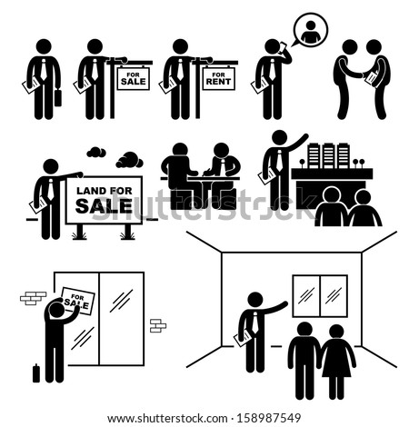Property Agent Real Estate Client Customer Stick Figure Pictogram Icon - stock photo