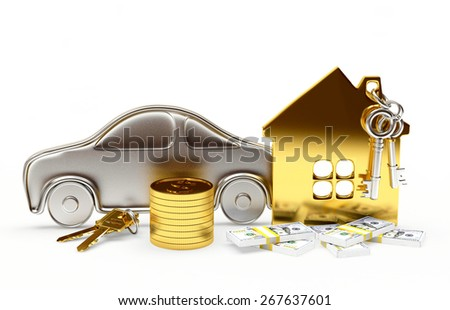 Property concept. Car, house and money isolated on white background - stock photo