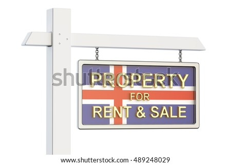 Property for sale and rent in Iceland concept. Real Estate Sign, 3D rendering isolated on white background