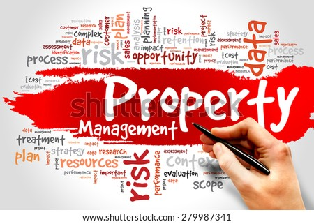 Property Management word cloud, business concept - stock photo