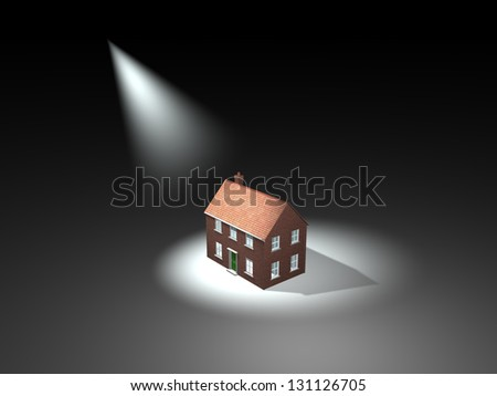 Property market. Spotlight on house, repossessions. 3D - stock photo