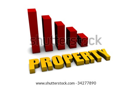 Property Slump in 3d with Bar Graph Chart - stock photo