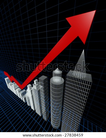 Property valuation chart arrow pointing up to the tallest building 3d illustration - stock photo