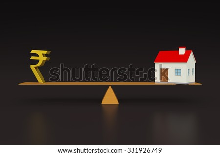 Property value with 3d Models - stock photo