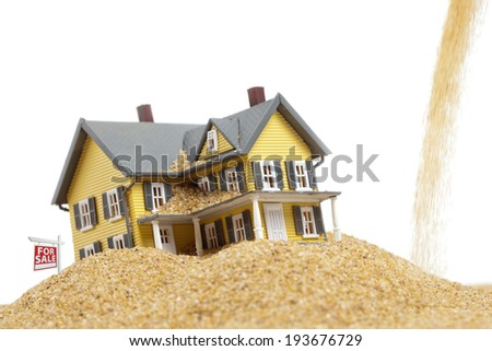 Property values dropping, house for sale, real estate crisis concept, copy space  - stock photo
