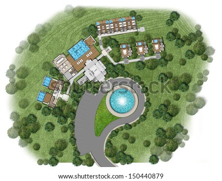 Proposal of planning house with with green area - stock photo