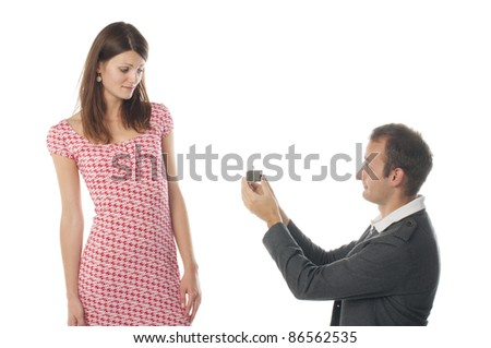 Proposal scene with sad woman and man. - stock photo