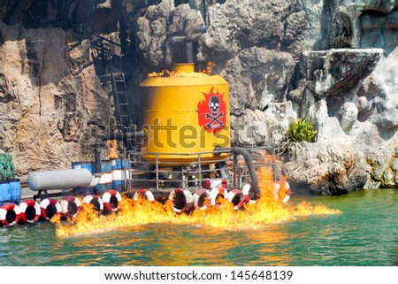 Props  gas fire on water. - stock photo
