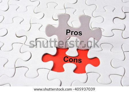 Pros and Cons concept on puzzle