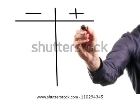 pros and cons on whiteboard - stock photo