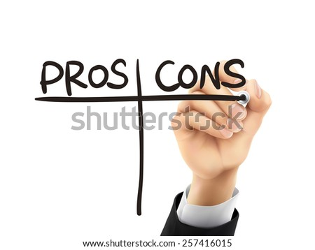 pros and cons words written by hand on a transparent board - stock photo