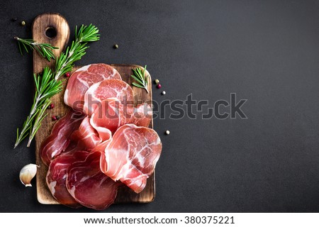 prosciutto - stock photo