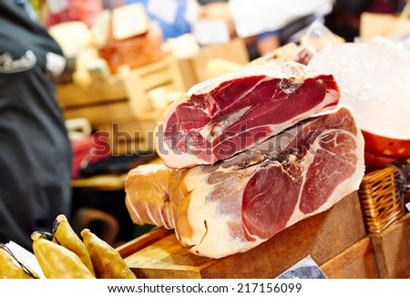 Prosciutto at he farmers market - stock photo